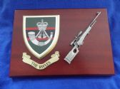 THE RIFLES MESS SHIELD AND L96A2 COMBAT PLAQUE